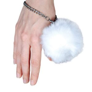 White Fur Ball Buzzer 100 dB Personal Alarm