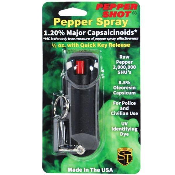Pepper Shot® 1.2% MC ½ oz Pepper Spray Black Halo Holster