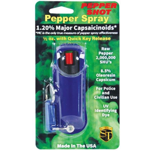 Pepper Shot® 1.2% MC ½ oz Pepper Spray Blue Halo Holster