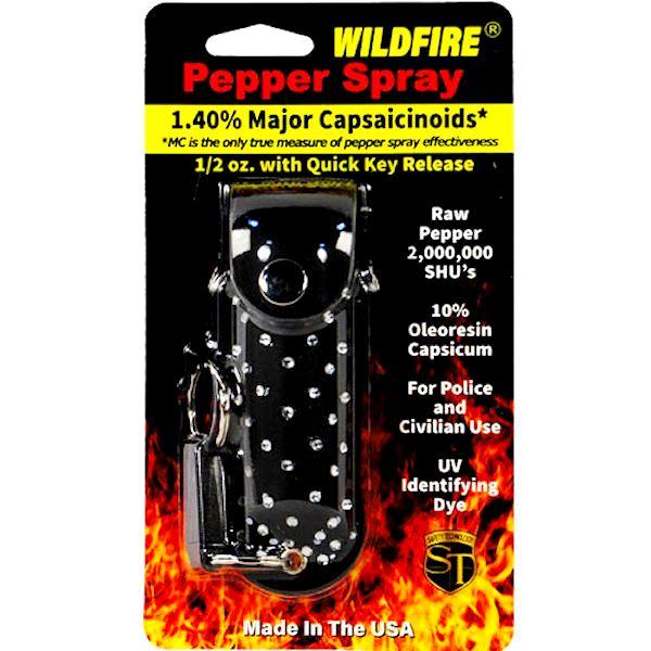 Wildfire™ Pepper Spray ½ oz Black Rhinestone Holster