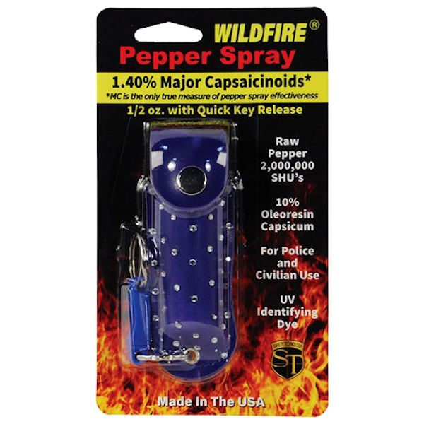 Wildfire™ Pepper Spray ½ oz Blue Rhinestone Holster