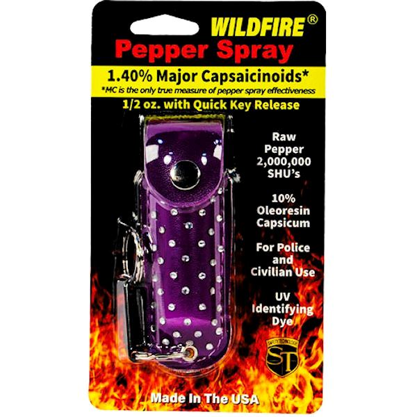Wildfire™ Pepper Spray ½ oz Purple Rhinestone Holster