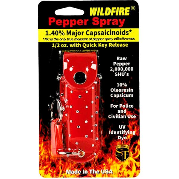 Wildfire™ Pepper Spray ½ oz Red Rhinestone Holster